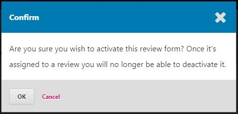 Review form activation confirmation.