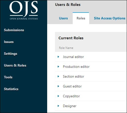 Journal manager menu options.