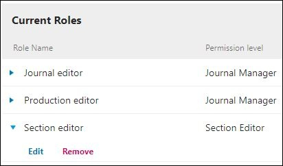 Section editor role highlighted, showing edit and remove options.